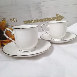 Pair of Lenox Hannah Platinum Cups & Saucers
